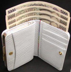 口金付き、小銭出し入れ楽々折り財布お札入れ