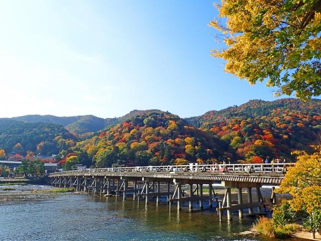 嵐山渡月橋の紅葉