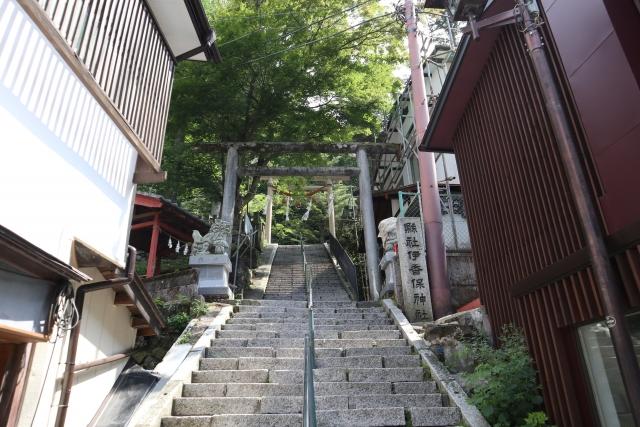 石段頂上の伊香保神社